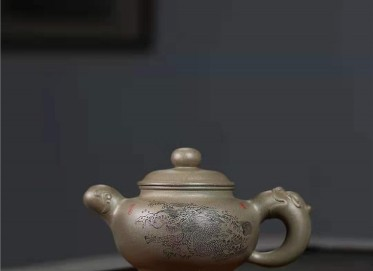 刘莹紫砂壶作品 蟹壳青道洪潘壶280CC纯手工正品价格
