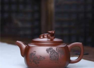 刘莹紫砂壶作品|原矿紫泥牛转乾坤壶460CC手制正品价位