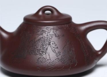 马晨紫砂壶作品 紫茄泥子冶石瓢壶320CC纯手工真品价值
