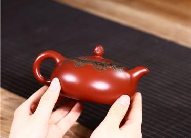 范君浩紫砂壶作品|原矿大红袍梵莲扁乳壶290CC全手工正品多少钱
