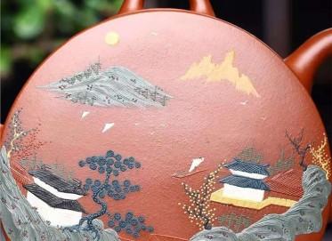 鲍明亚紫砂壶作品 原矿清水泥却月壶430CC手制真品价格