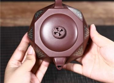 范君浩紫砂壶作品|原矿紫泥八方井栏壶300CC手制正品价位