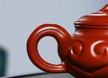 吴行其紫砂壶作品|原矿大红袍仿古如意壶400CC手工正品多少钱