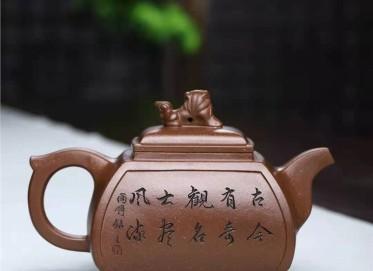 刘莹紫砂壶作品|拼紫泥四方狮尊壶460CC手工真品多少钱