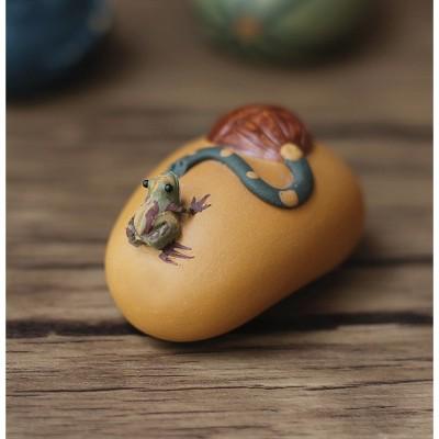 悠然紫砂作品 喷水小青蛙莲蓬