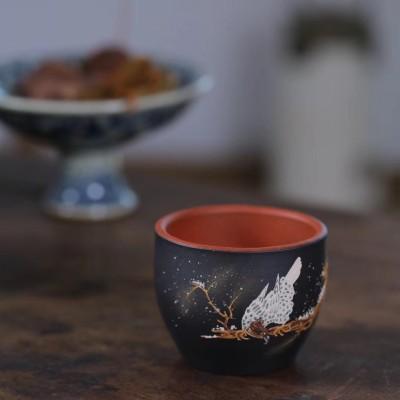 紫砂茶杯 雪鹰堆绘杯