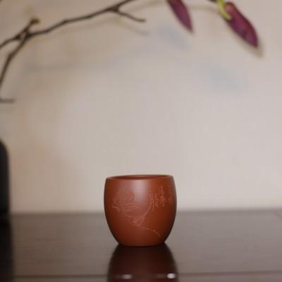 悠然紫砂作品 荷塘清趣品茗杯