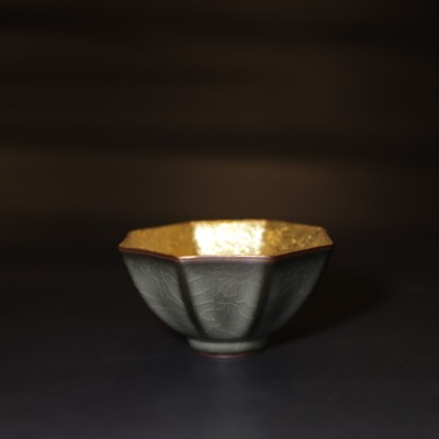 悠然紫砂作品 鎏金日本功夫主人杯