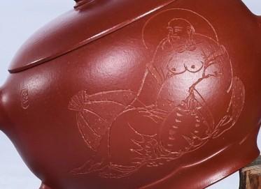 陈顺根紫砂壶作品 禅意壶 原矿朱泥大红袍 230cc  高级工艺美术师 陈顺根紫砂壶价格,多少钱