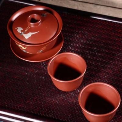 吕霞作品 福在眼前 盖碗小杯套装