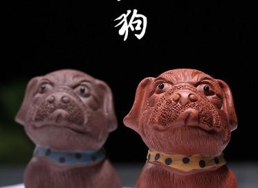 悠然紫砂紫砂壶作品 沙皮狗-旺财小狗 红泥茶宠   悠然紫砂紫砂壶价格,多少钱
