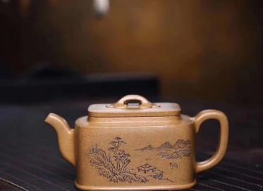 陈俊紫砂壶作品 四方集露壶 极品黄金段 260cc  工艺美术员 陈俊紫砂壶价格,多少钱