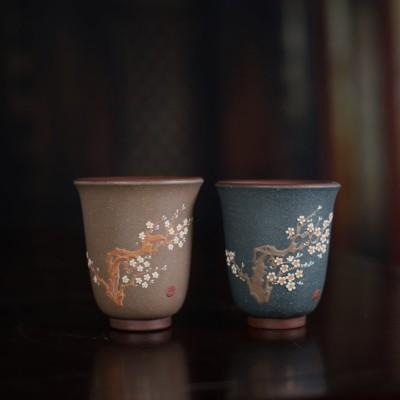 紫砂茶杯 梅花对杯