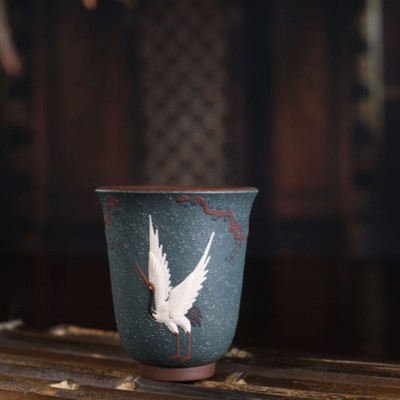 悠然紫砂作品 泥绘松鹤主人品茗杯