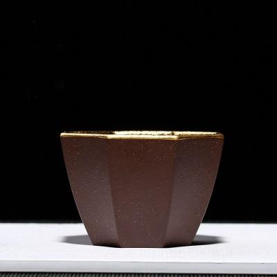 悠然紫砂作品 紫砂鎏金八方杯
