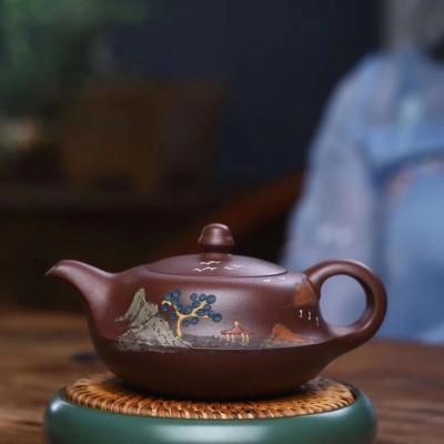 悠然紫砂作品 扁玉壶