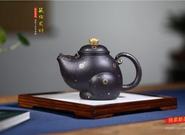 张剑紫砂壶作品 黑珍珠泥鼠你发财壶 290CC 国家级工艺美术师 张剑紫砂壶价格,多少钱