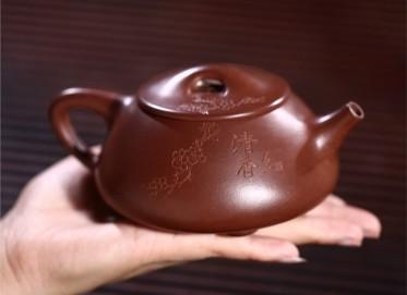 张剑紫砂壶作品 原矿底槽清清香石瓢壶 370CC 国家级工艺美术师 张剑紫砂壶价格,多少钱