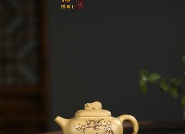张剑紫砂壶作品 原矿段泥金猪纳福壶 460CC 国家级工艺美术师 张剑紫砂壶价格,多少钱