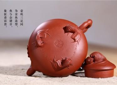 赵丽娟紫砂壶作品 原矿清水泥金鱼戏水壶 200CC 国家级高级工艺美术师 赵丽娟紫砂壶价格,多少钱