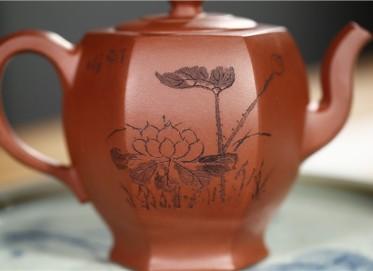王志芳紫砂壶作品 原矿清水泥高六方壶 410CC 国家级工艺美术师 王志芳紫砂壶价格,多少钱