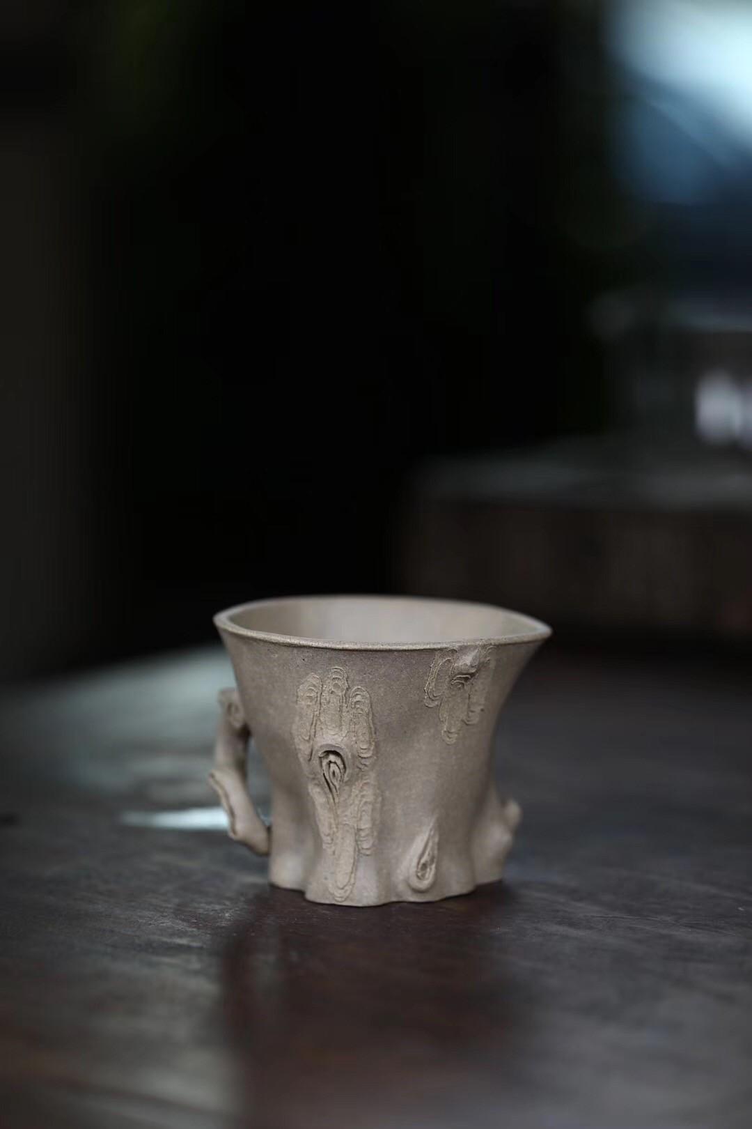 周飞作品 全手工松桩杯 刻长寿/问松